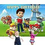 MEZHEN Fondo de Fotografía Dog Photo Booth Cumpleaño Decoración Pancarta Happy Birthday Banner Fondo Photocall para Fiesta de Cumpleaños Baby Shower
