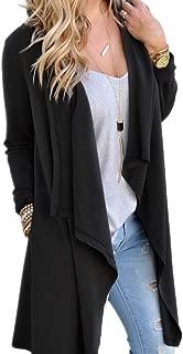 KINDOYO Women Cardigans - Natural Soft Classic Long Sleeve Irregular Open Drape Style Cardigan with Pocket