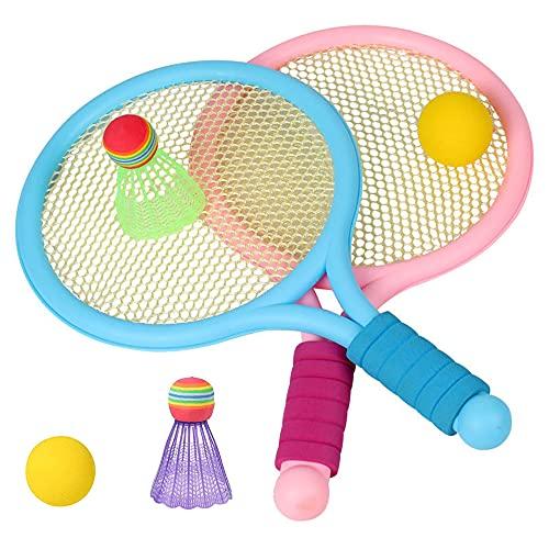Kaimeilai Juego de Raquetas de Tenis, Tenis de pelótillo de Tenis para niños pequeños Juego de Raquetas de Tenis, Juguetes para niños Juguetes de Playa de Tenis Gratis (2 paletas y 4 Bolas)
