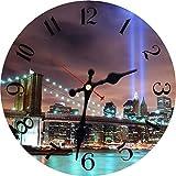 XYQY Reloj de diseño de Escena Nocturna Vintage Reloj de Pared Cocina Baño Decoración para el hogar Arte de Pared Reloj de Pared Grande Sin Sonido de tictac 12 Pulgadas (30 cm) Verde