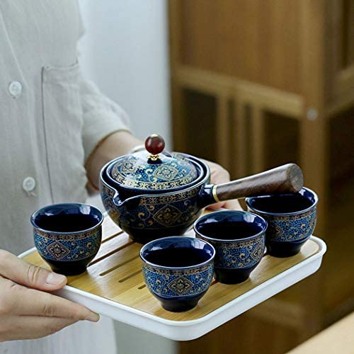 Unique Design Vintage Anti fall Lip Ceramic Chines Kung Fu Travel Tea Pot Sets with Tray and product image