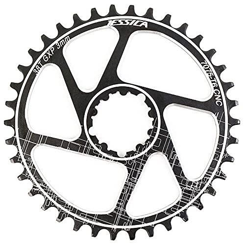 ZHTT Plato de Bicicleta de montaña GXP, 32 34 36 38T Plato Ancho Estrecho de MTB Redondo de una Velocidad, 3 mm de compensación, Apto para Platos de Bicicleta Sram GXP XX1 X9 XO X01 9-11S
