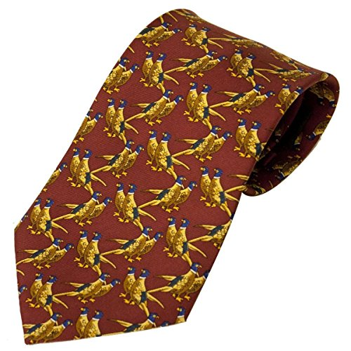 Bisley Pheasants Solid Red 100% Silk Tie - Shooting and hunting - Handmade