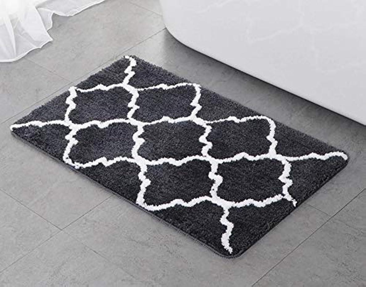 差し控えるウガンダ肘Chennong フロッキングクラウンドアマット通気性と吸収性リビングルームのコーヒーテーブル寝室のカーペットフロアマットバスルーム滑り止め寝室のベッドサイドの絨毯 (Color : ブラック)