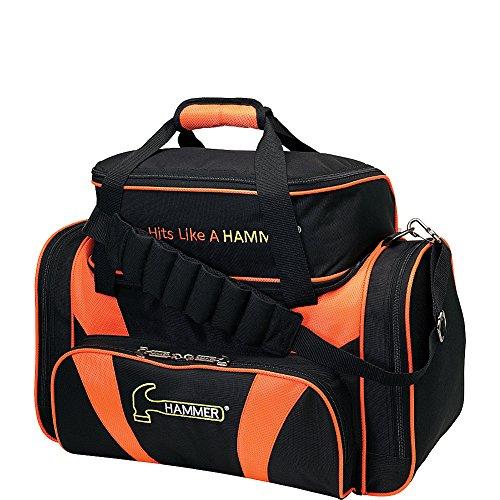 HAMMER Premium Deluxe Double Tote Bowling Bag, Unisex, HBG906BKOR, schwarz/orange, Einheitsgröße