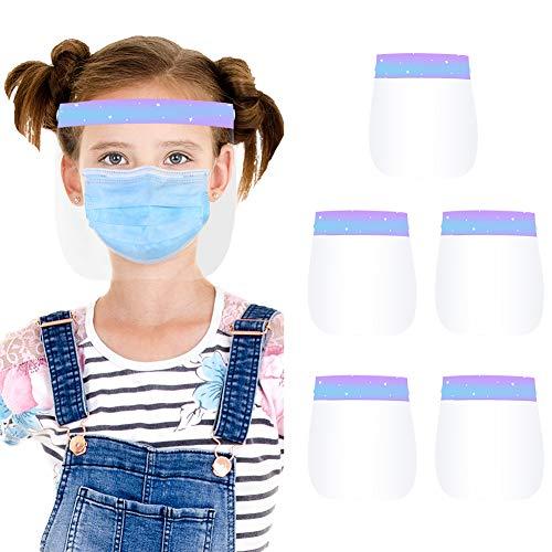 AUBIG - 5 Piezas Visera Protectora Niño Niña Niño Transparente Protección Completa Pantalla Facial Infantil Evite la Saliva Polvo de Vapor Estilo 3