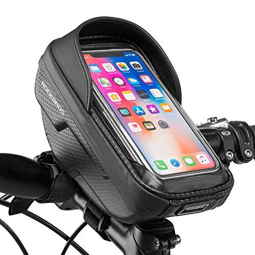 ROCKBROS Bolsa Manillar Cuadro de Bicicleta MTB Montaña Carretera para Teléfono Móvil de 6,2 Pulgadas con Pantalla Táctil Bolso Rígido Negro