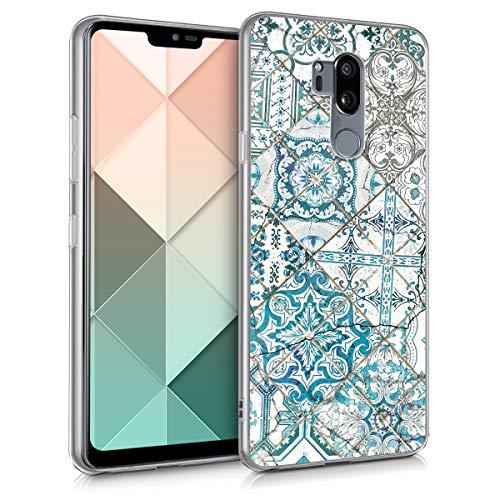 kwmobile Hülle kompatibel mit LG G7 ThinQ/Fit/One - Hülle Handy - Handyhülle Marokkanische Fliesen Uni Blau Grau Weiß