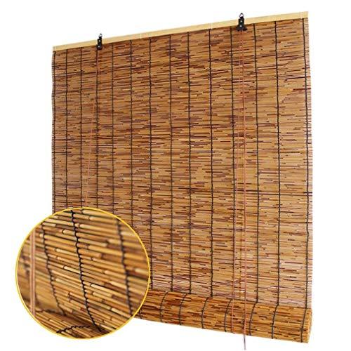 Persianas enrollables de bambú natural, persianas enrollables de láminas retro, cortinas de ventana romanas con elevación, parasol / impermeable / aislamiento térmico,para exteriores,interiores,patio.