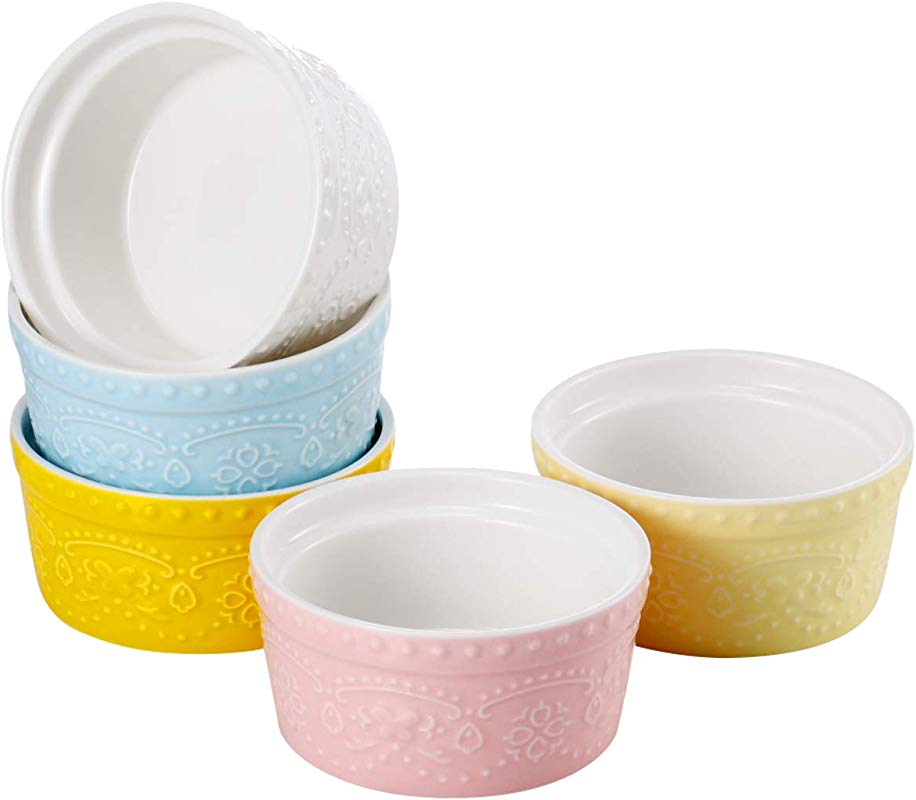 Sumerflos 6 Oz Porcelain Ramekins Souffle Dishes For Baking Pudding Creme Brulee And Ice Cream Microwave Oven Safe Set Of 5 Elegant Assorted Colors