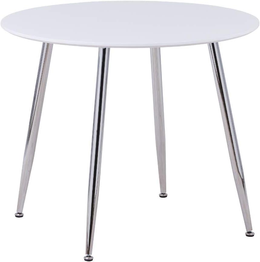 80 Solo Tavolo 75CM ,Argento Molto Adatto per Sala da Pranzo o Ufficio per 2-4 Persone,80 GOLDFAN Tavolo da Pranzo Moderno Rotondo in Vetro