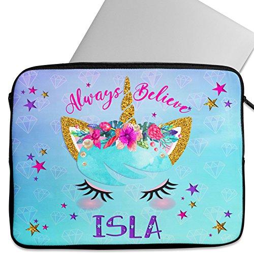 KRAFTYGIFTS Personalised UNICORN FACE 12' - 14 Laptop Sleeve Pretty Neoprene Girls Work School Travel Cover Bag Universal Case Inch Tablet KS33 - ADD NAME