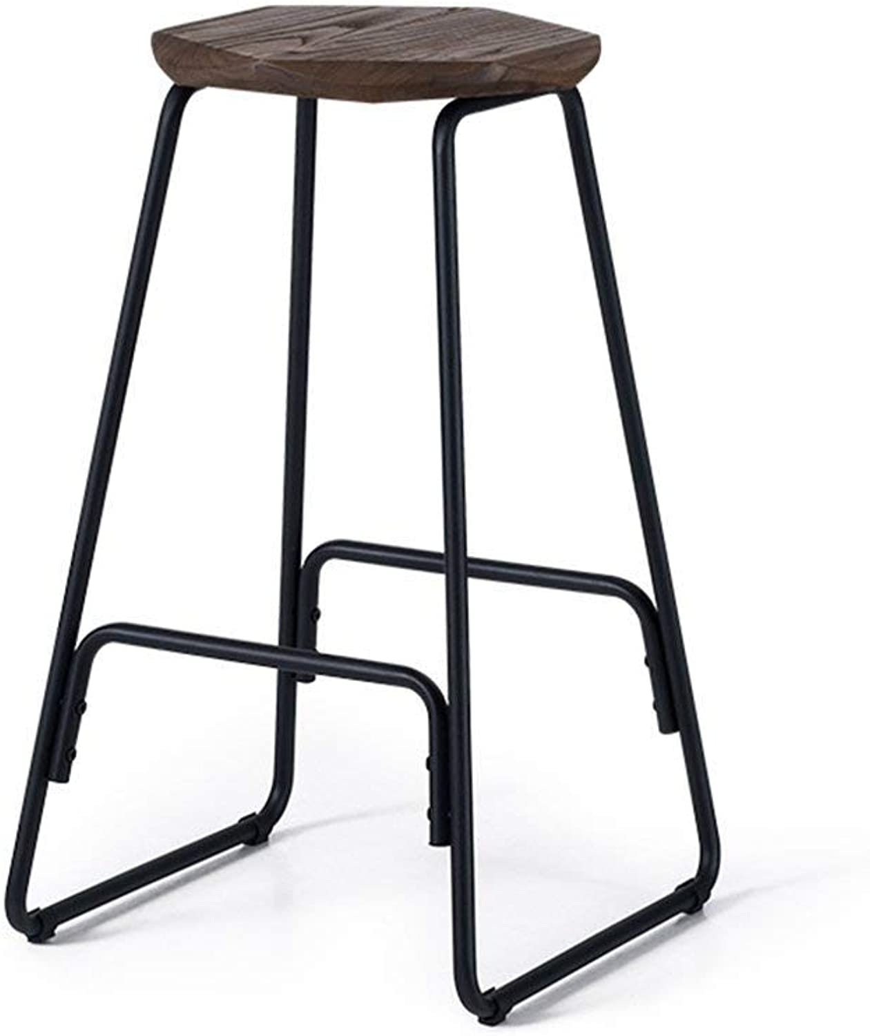 STTS Chair- Bar Stool Retro Fashion Fine Wood + Iron Arts Stool Household High Stool