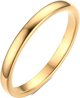 2mm Women's Tungsten Carbide Plain Band Engagement Wedding Ring,Gold Plated,Size 6-11