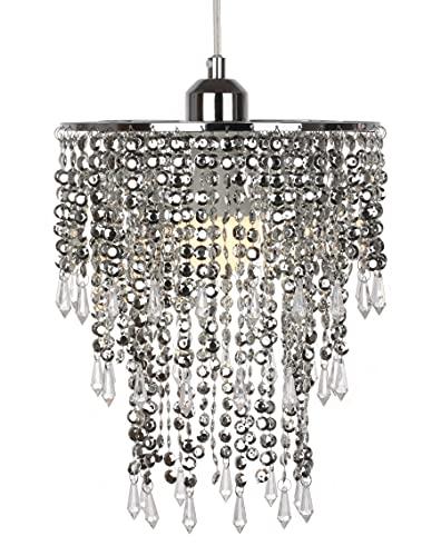 JYLITETLUX Pantalla de fácil ajuste para lámpara colgante de techo, moderna y brillante, efecto de gotas de cristal acrílico, 3 niveles, 22 cm de diámetro