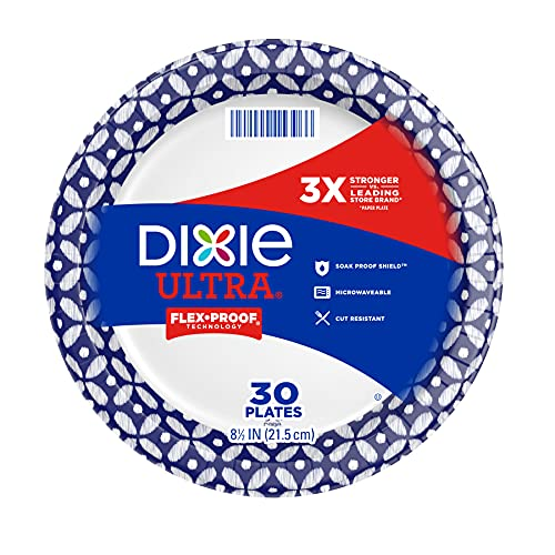 Dixie Ultra 8 1/2 Lunch or Light Dinner Size Printed Disposable Paper Plates, Patterned, 30 Count (Pack of 10)