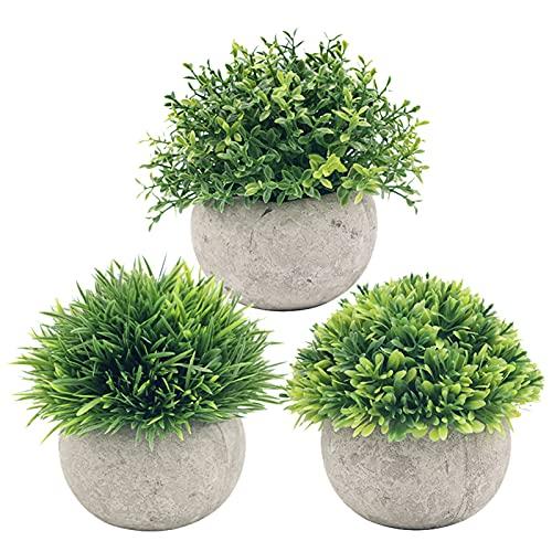 Eastdall Vasos De Plantas Artificiais,Conjuntos de plantas artificiais de simulação de plantas artificiais para pote de grama verde falsa 3 pacotes para casa, cozinha, escritório