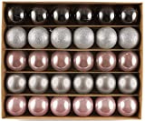 HEITMANN DECO - Bolas para árbol de Navidad (plástico, 30 Unidades), Color Gris, Plateado y marrón