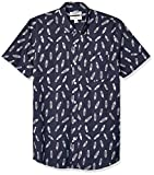 Marca Amazon – Goodthreads – Camisa estampada de manga corta de popelín y corte entallado para hombre, Navy Feather Print, US XS (EU XS)