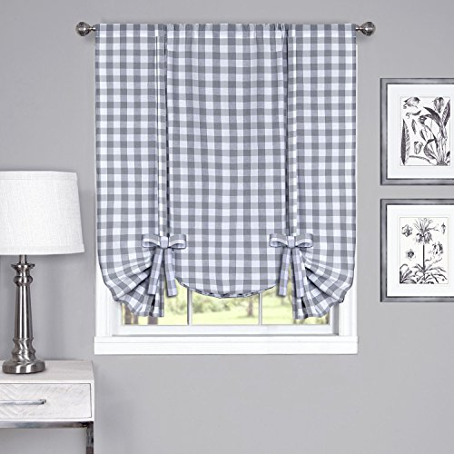 "Achim Home Furnishings Tie Up Shade Buffalo Check Window Curtain, 42"" x 63"", Grey & White"