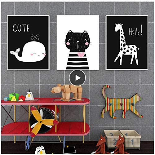 Generic Schwarz Und Weiß Wal Giraffe Katze Leinwand Kunst Abstrakte Malerei Druckplakat Bild Wand Kinderzimmer Nordic Dekoration 50x75 cm Kein Rahmen