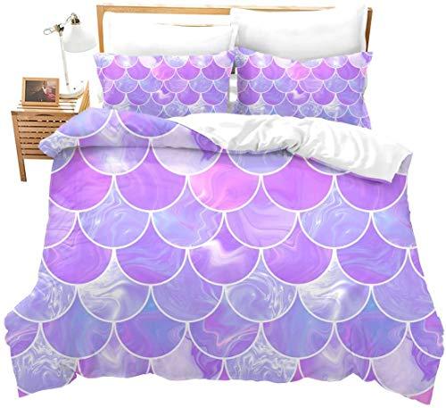 Loussiesd Juego de ropa de cama con 2 fundas de almohada, diseño de sirena, color morado