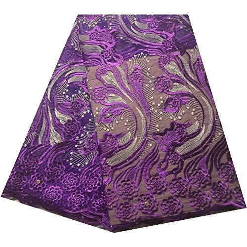 Afrikaanse Tulle Lace Stof Nigeriaanse de Stof for Stones Borduren Zwitserse Voile Lace (Color : Purple, Size : 5 yards)