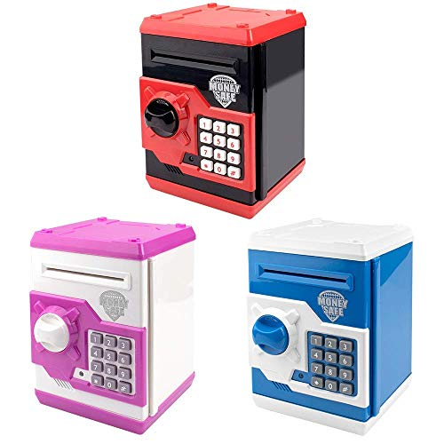 HUSAN Great Gift Toy for Kids Code Electronic Piggy Banks Mini ATM Electronic Coin Bank Box for Children Password Lock Case(Black/Red and White/Pink and Blue/White)