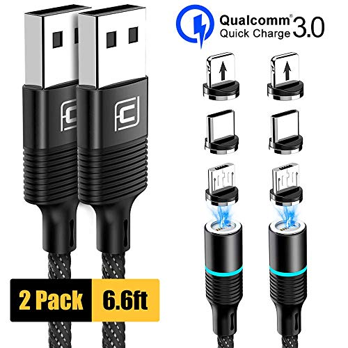 Magnetic Charging Cable, CAFELE 2 Pack Nylon Braided USB 3.A Fast Charging Cord with LED Light, Universal 3 in 1 Magnet Phone Charger Compatible with Micro USB, Type C Devices - Black/6.6ft