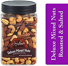 Jaybees Roasted Salted Deluxe Mixed Nuts (18 oz) Great for Holiday Gift Giving or Healthy Nutrition Snack - Cashews, Almonds, Brazil Nuts, Pecans, Hazelnuts, Filberts - Keto & Vegan friendly Snacks