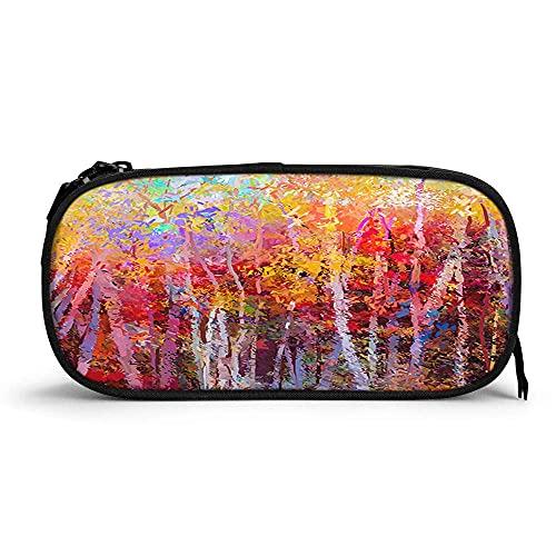 Otoño Árboles de alta capacidad pluma caso al óleo acrílico pintura abstracta arte bosque hojas pintado a mano durable lápiz bolsa papelería cremallera bolsa