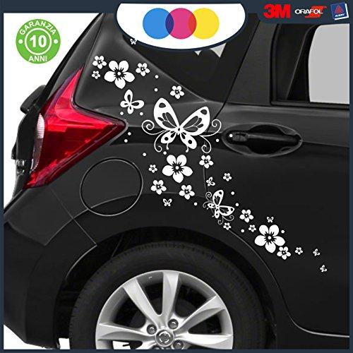 Just Go Online S.l.u. Pegatinas para coche – Flores y mariposas – Coche – Novedad – Coche Moto Camper, Stickers, Decal (blanco)