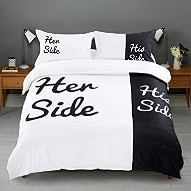 Ucharge Black White Duvet Cover Set Queen, Simple Room Decor 3Pcs Bedding Set with Quilt Cover and 2 Pillowcases