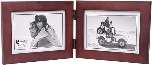 إطار صورة مزدوج أفقي 4×6 من مالدن - قالب عريض من الخشب الحقيقي، زجاج حقيقي - خشب الجوز الداكن