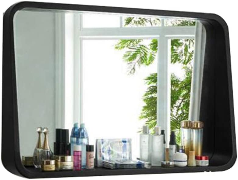 Max 79% OFF Black Solid Wood Framed Wall Makeup Li San Jose Mall for Mounted Mirror