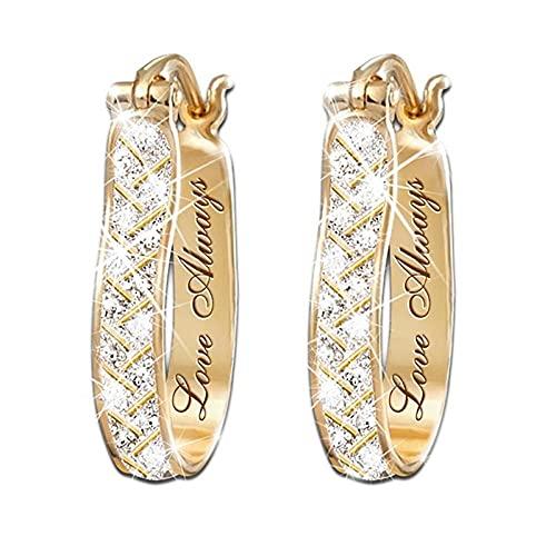 XCWXM Moda Placcato Oro cubico Zirconia Orecchini Donna Gioielli Ragazza Orecchini Festa Accessori per Matrimoni