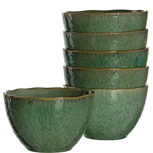 Leonardo Matera Keramik-Schalen, 6-er Set, spülmaschinengeeignete Schüsseln, 6 Steingut-Schalen mit Glasur, grün, 980 ml, Ø 15,3 cm, 018540