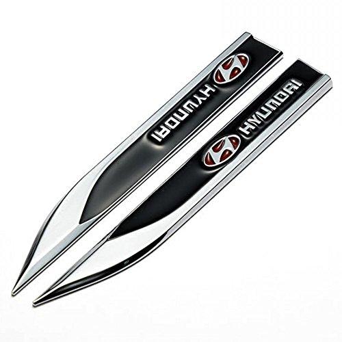 Wallner 1 Paar Metall 3D umrüstte Fahrzeug Auto markierungen Emblem Abzeichen Aufkleber Auto Tür Fender Side Aufkleber Für Hyundai (schwarz)