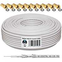 HB-Digital - Cable coaxial para DVB-S, S2 DVB-C y DVB-T(130 dB, HQ-135, Pro, apantallamiento cuádruple, BK, 10 Conectores F Dorados) 20 m Blanco