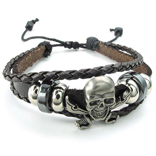 KONOV Herren Damen Leder Armband, geflochten Gothic Pirat Skull Totenkopf Charm 17,8–22,9cm verstellbar, braun