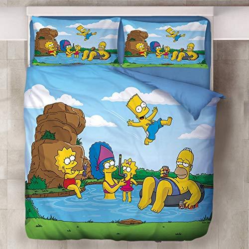 Simpson Bettwäsche-Set, 3D-Druck, 100 % Mikrofaser, Bettbezug und Kissenbezug, für Kinder und Jugendliche (O,135 x 200 cm)