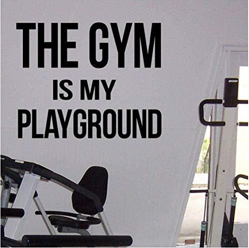 Gimnasio Cita motivacional El gimnasio es mi patio de recreo Calcomanía de vinilo Centro de fitness Etiqueta de la pared Gimnasio en casa Entrenamiento interior Mural de pared 72X57Cm
