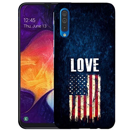 Inkmodo  Designer Hard Case for Galaxy A50   Love Usa Flag Printed Slim Profile Cute Plastic Snap on Back Cover