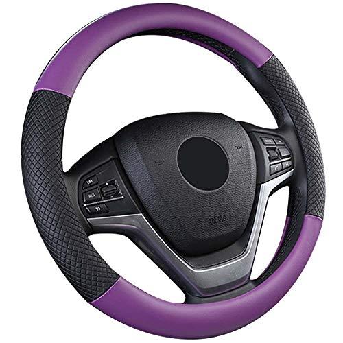 Funda de volante de piel, cubierta de volante antideslizante, protector de volante de coche, funda universal para volante, color negro (morado) D