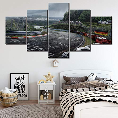 LIVELJ Poster,5 Teilig Leinwand stück Kunstdruck Leinwandbild modern Wand Aufhängen Dekoration Bild Abstrakt Design HD Panel Home Poster/Rallye Nürburgring/Rahmenlos