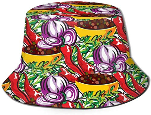 Bernice Winifred Red Cute Onion Unisex Print Bucket Hat Sombreros de Pescador Sombrero de Pesca Summer Reversible Packable Cap Mujeres Hombres Outdoor Sun Hat Travel Beach Camp