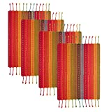 COTTON CRAFT Salsa Stripe Set of 4 Handmade Fringed Placemats, Red Multicolor