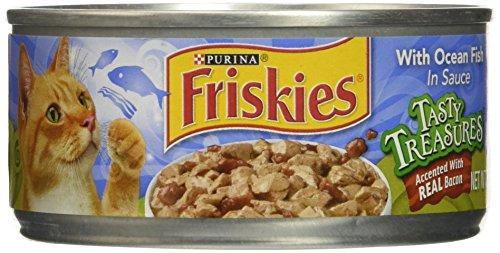 Friskies Tasty Treasures Cat Food - Oceanfish & Bacon - 5.5 oz - 24 ct