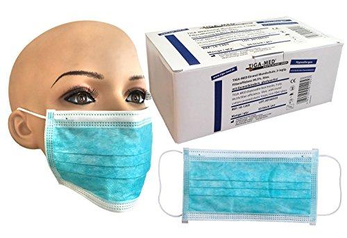 Maschera medica OP monouso, confezione da 50 fasce elastiche blu a 3 strati con filtro 99,5% di efficienza, qualità originale Tiga-Med