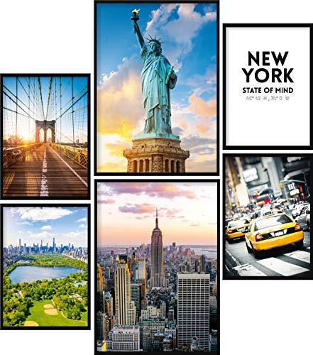 Calias® Lot de 6 affiches de qualité supérieure New York - Pour décoration de salon ou de chambre à coucher - Décoration murale élégante - Sans cadre - 2 x DIN A3 et 4 x DIN A4